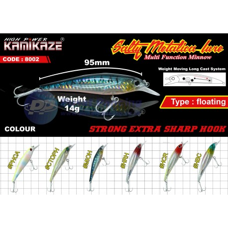 Umpan Casting Minnow Floating Kamikaze Salty Metalica 8002