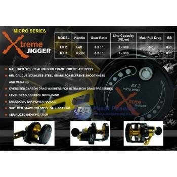 Reel Jigging Team Kamikaze Xtreme Jigger Micro Series LX2 & RX2