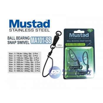 Mustad Ball Bearing Swivel with Tournament Snap Stainless Steel MA101-SS