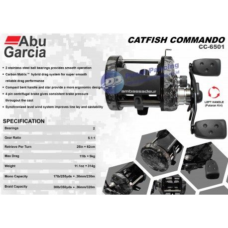 Reel OH Abu Garcia AMB Catfish Commando Cast AMBCC 6501